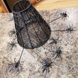 🎃 Vintage beaded spider web lamp shade handmade